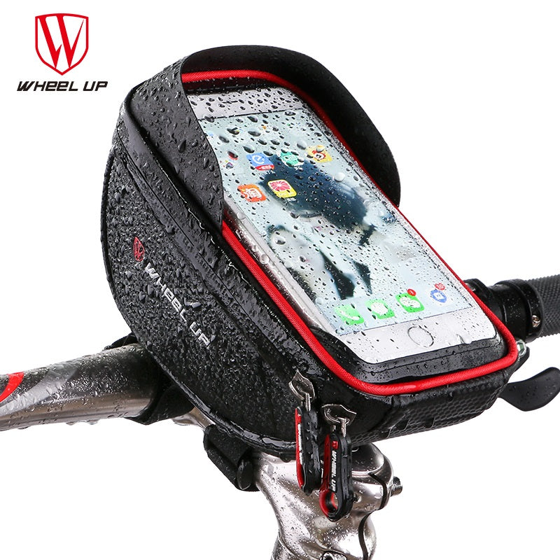 WHEEL UP Waterproof MTB Road Bike Bicycle Front Bag Cycling Top Tube Frame Handlebar Bag 6.0 inch Cycling Pouch Cellphone Bag