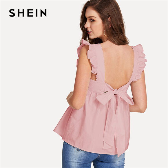 SHEIN Pink Preppy Backless Round Neck Sleeveless Ruffle Trim Knot Back Smock Blouse Summer Women Weekend Casual Sweet Shirt Top