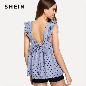SHEIN Blue Elegant Backless Ruffle Detail Knot Back Round Neck Sleeveless Blouse Summer Women Weekend Casual Shirt Top