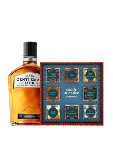 Gentleman Jack Double Mellowed Tennessee Whiskey with Sugarfina Vice Collection 8pc Candy Bento Box