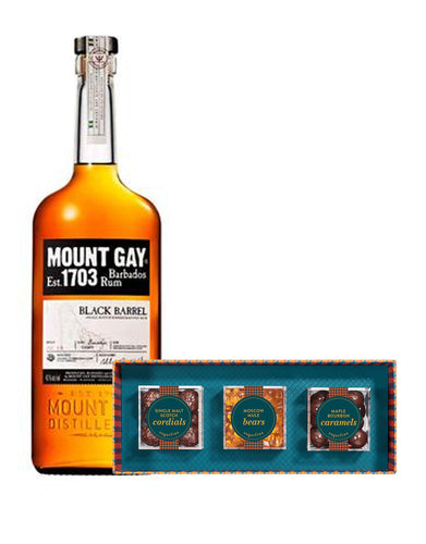 Mount Gay Black Barrel Rum with Sugarfina Vice Collection 3pc Candy Bento Box