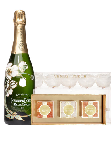 Perrier-Jouët Belle Epoque Brut Venus Et Fleur with Sugarfina Cheers 3pc Candy Bento Box