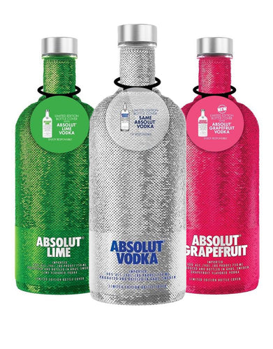 Absolut Holiday Sequin Bottles (3 Bottle Set)