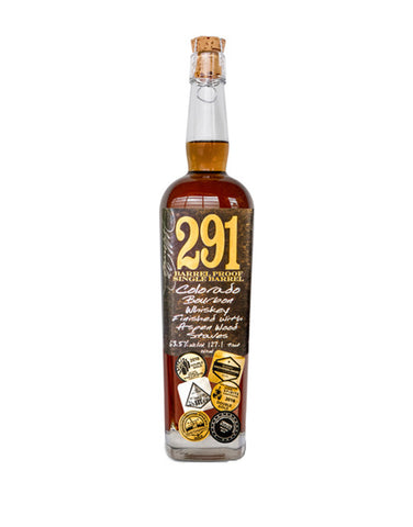 291 Colorado Bourbon Whiskey, Finished with Aspen Wood Staves, Barrel Proof, Single Barrel