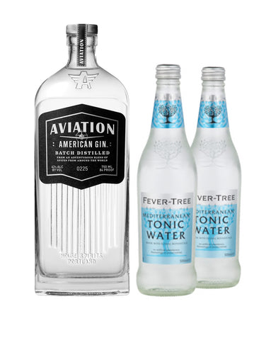Aviation American Gin with Two Fever-Tree Mediterranean Tonic Waters