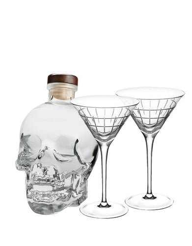 Crystal Head Vodka with Christofle Graphik Martini Glasses (set of 2)