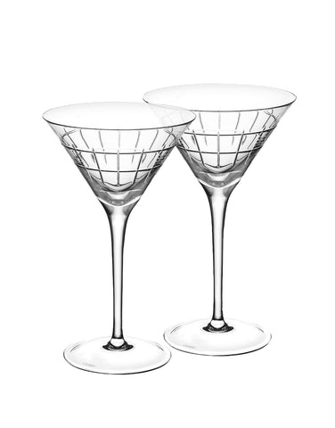 Christofle GRAPHIK Crystal Martini Glass (Set of 2)
