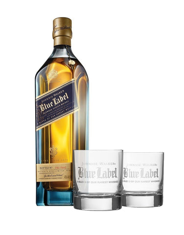 Johnnie Walker Blue Label® with Rolf On the Rocks Glasses Featuring Johnnie Walker Blue Label Logo (Set of 2)