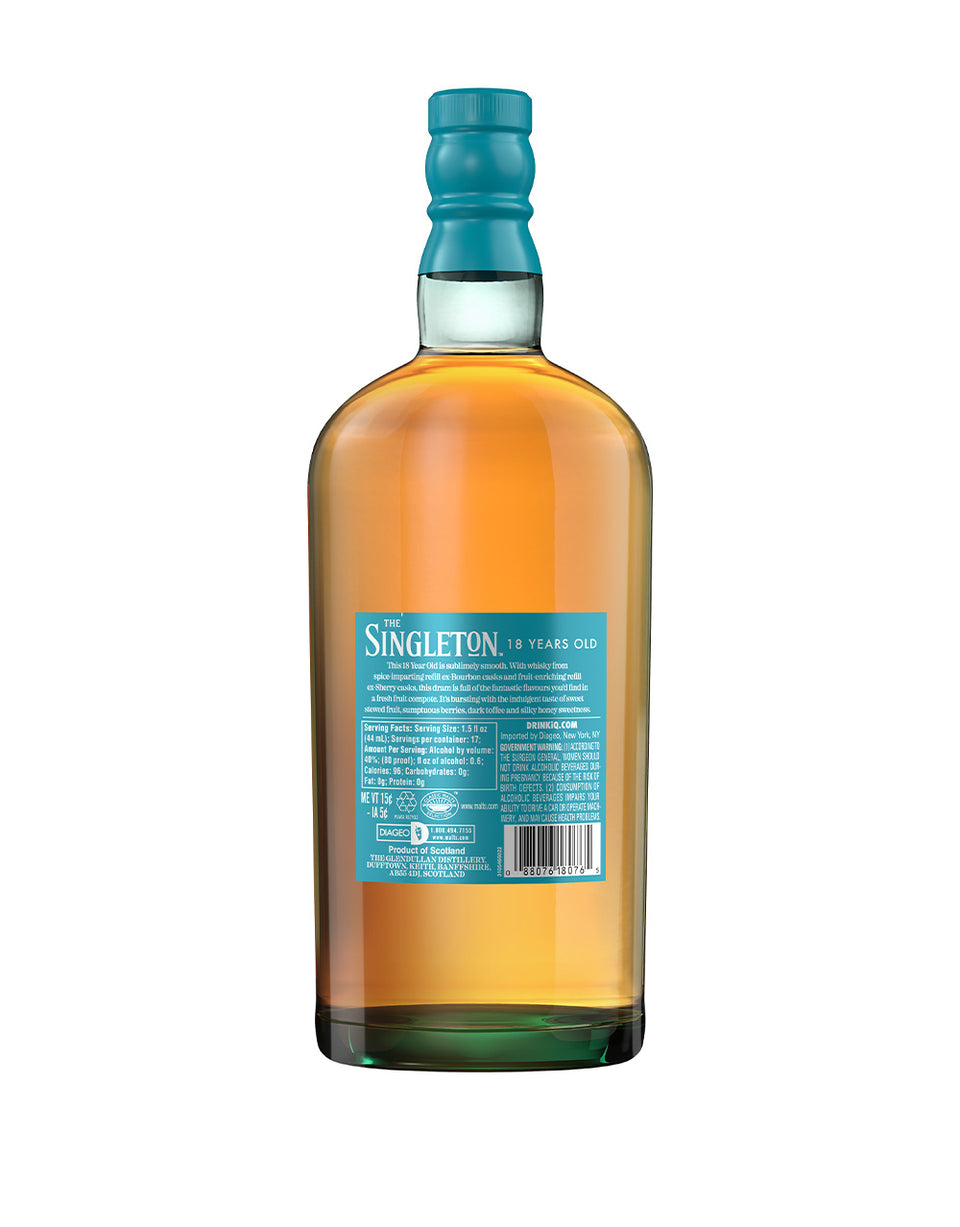 Load image into Gallery viewer, The Singleton of Glendullan 18 Years Old Single Malt Scotch Whisky back of bottle
