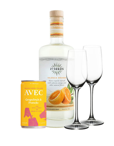 21 Seeds Valencia Orange and AVEC Grapefruit & Pomelo with Riedel Ouverture Tequila Glasses