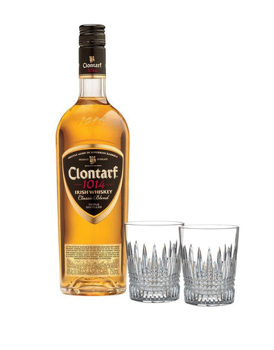Clontarf Irish Whiskey with Waterford Lismore Diamond Tumbler Set
