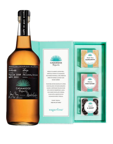 Casamigos Añejo 750ml with Sugarfina x Casamigos Tequila Candy Bento Box
