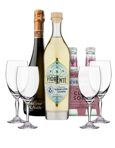 Fiorente Elderflower Liqueur Gift Set with 4 Ventura Marquis by Waterford Iced Beverage Glasses