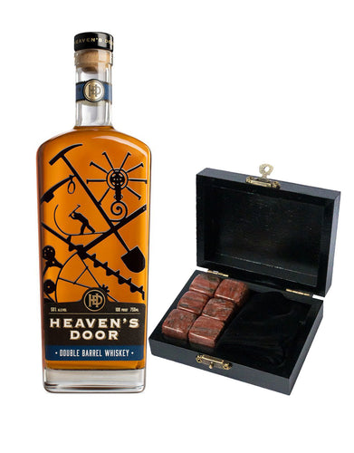 Heaven's Door Double Barrel Whiskey with Branded Whiskey Stones