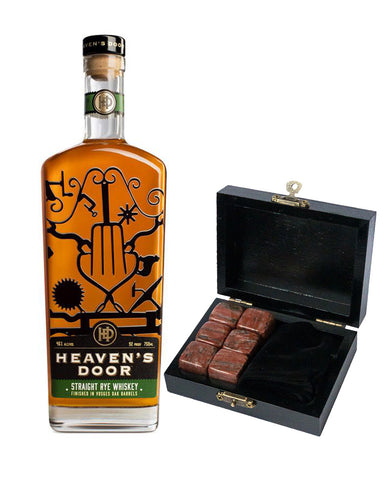 Heaven's Door Straight Rye Whiskey with Branded Whiskey Stones