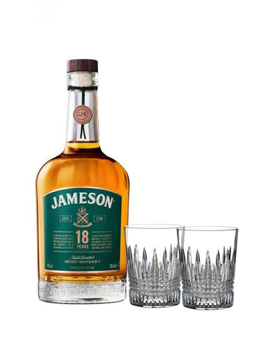 Jameson 18 Year Old with Waterford Lismore Diamond Tumbler Set