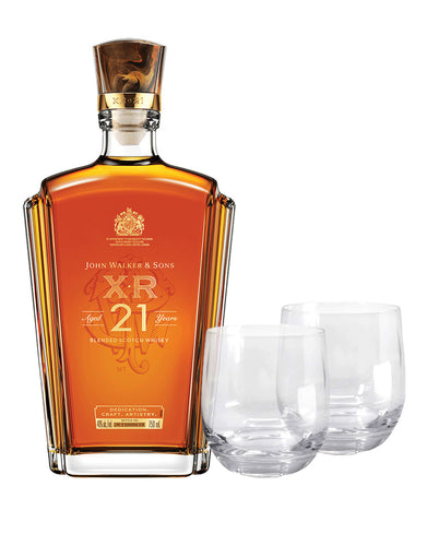 Johnnie Walker & Sons™ XR Aged 21 Years Blended Scotch Whisky with Two Glasses