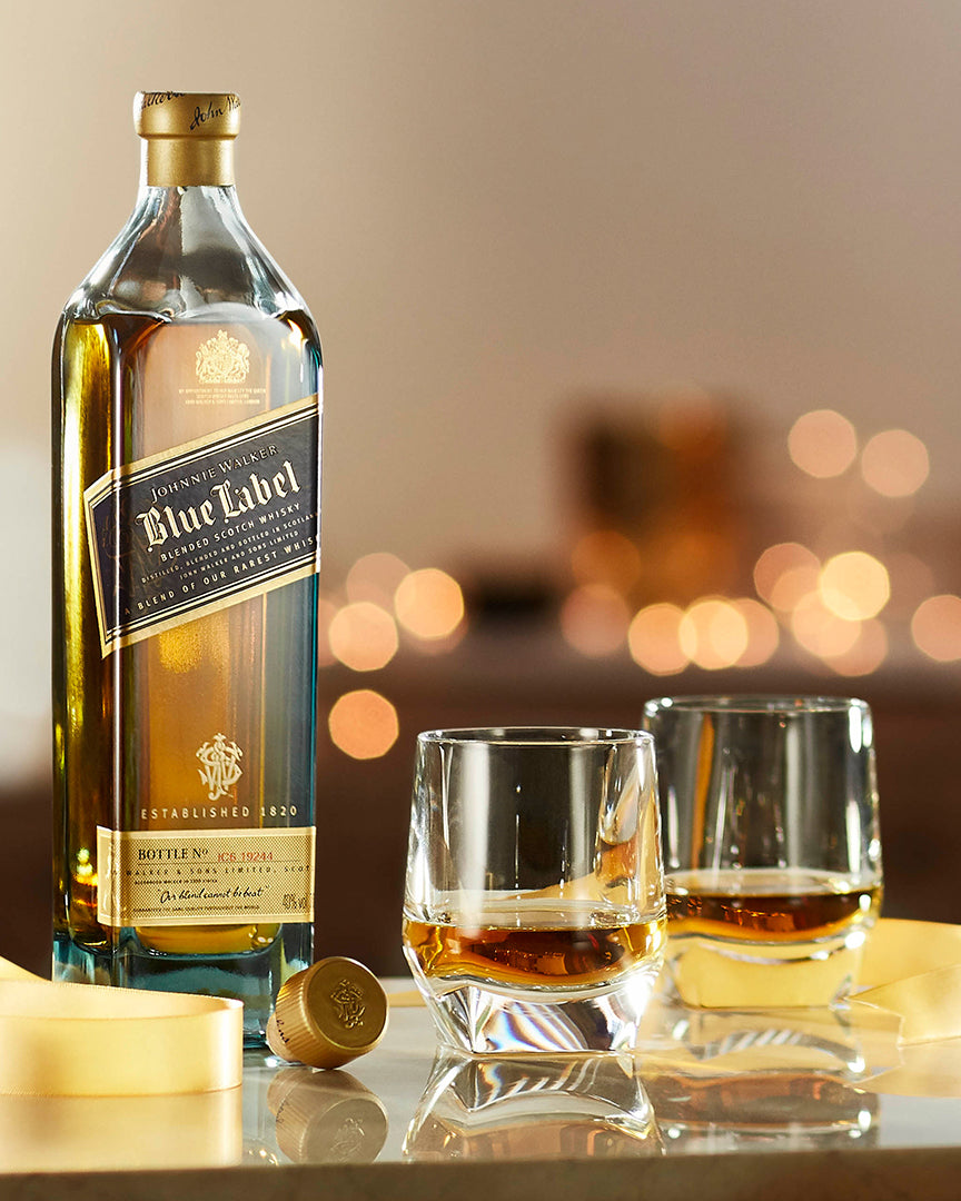 It is a picture of Lively Johnnie Walker Blue Label Crystal Glasses