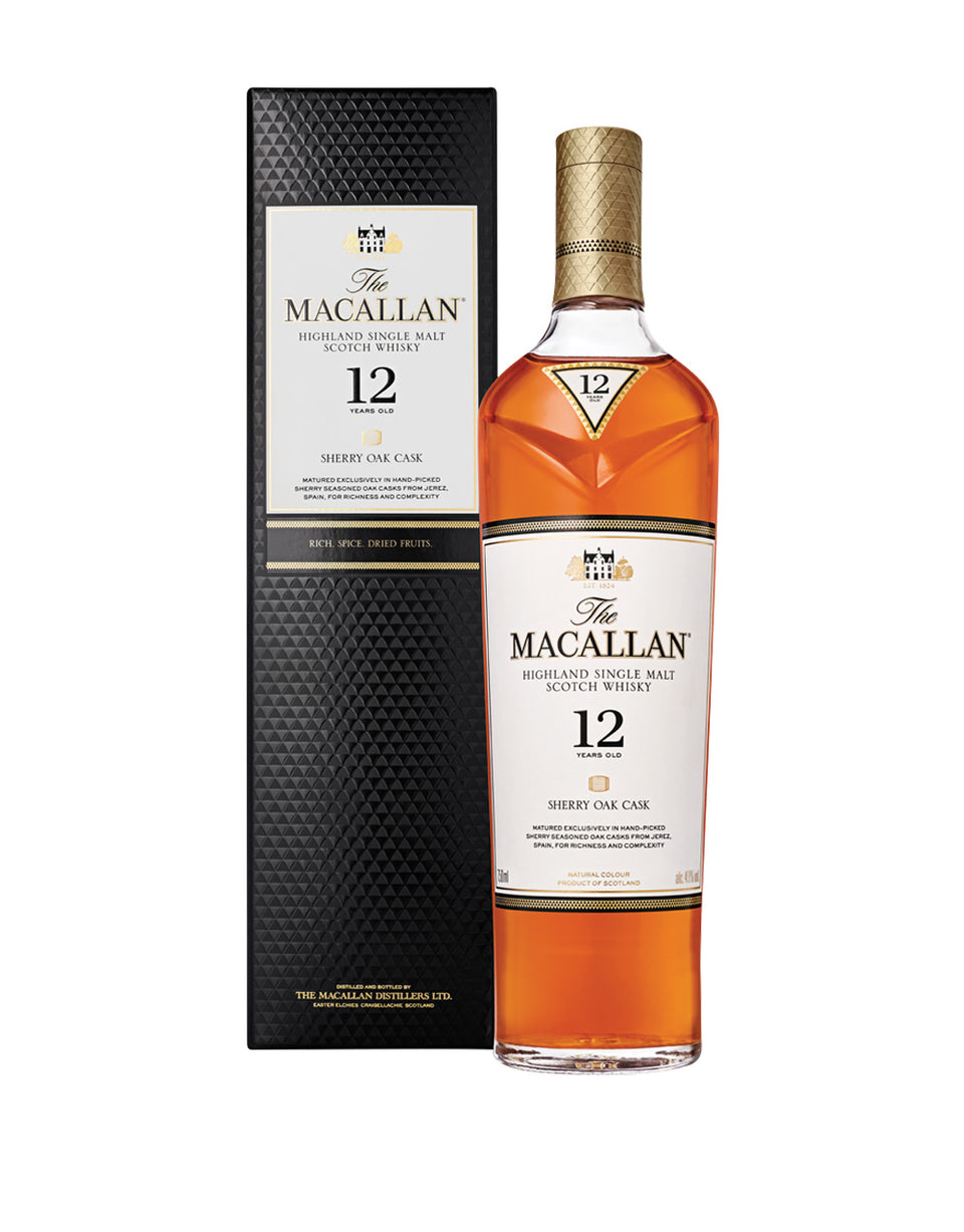 Load image into Gallery viewer, The Macallan® Sherry Oak 12 Years Old Single Malt Scotch Whisky bottle and box