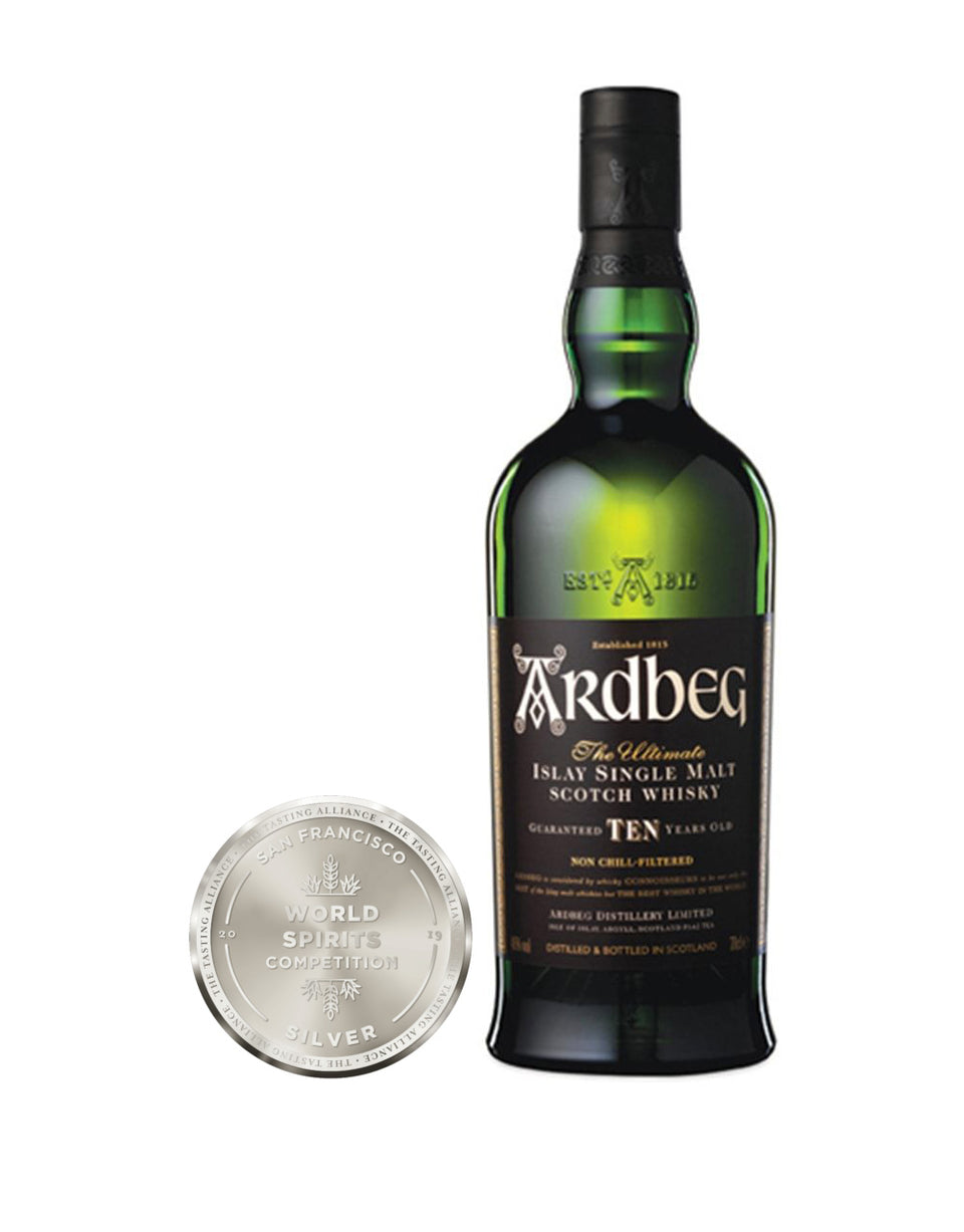 Load image into Gallery viewer, Ardbeg 10-Year-Old Single Malt Scotch Whisky bottle and award