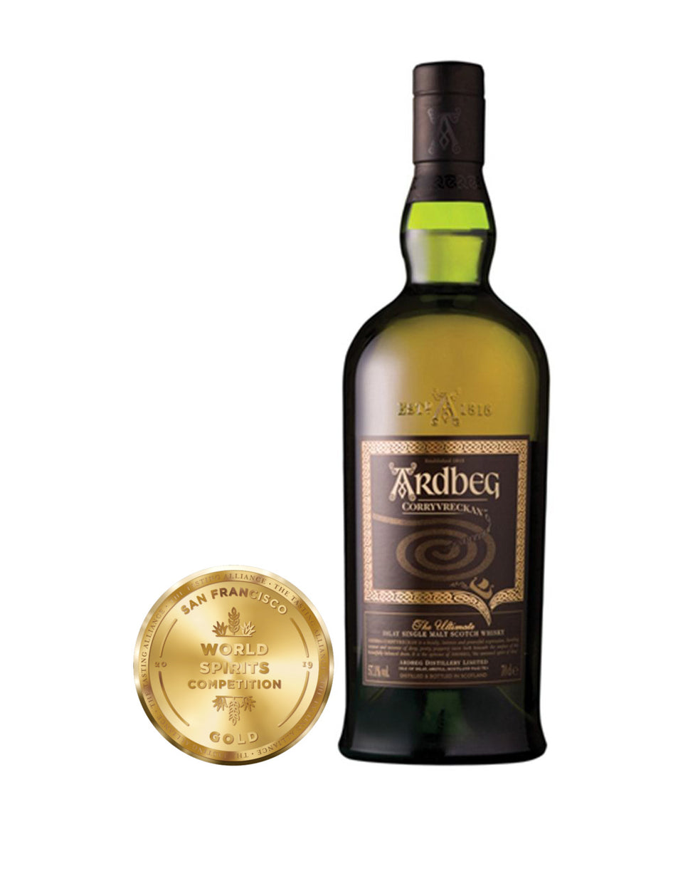 Load image into Gallery viewer, Ardbeg Corryvreckan Single Malt Scotch Whisky bottle and award