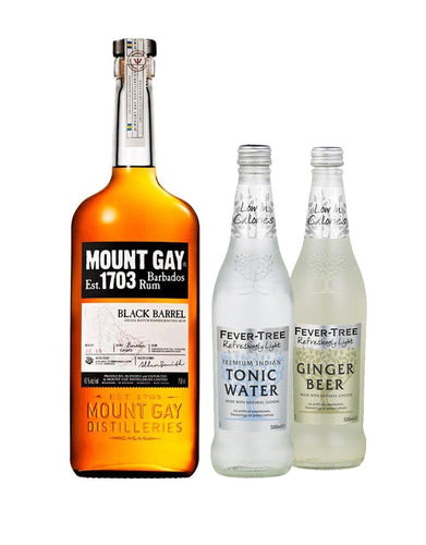 Mount Gay Black Barrel Rum with Fever-Tree Refreshing Light Ginger Beer (500Ml) and Refreshing Light Indian Tonic (500Ml)