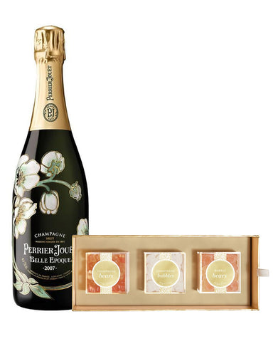 Perrier-Jouët Belle Epoque Vintage Champagne bottle with Sugarfina Candy Bento