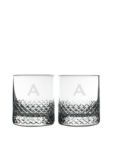 Rolf Glass Diamond On The Rocks with single letter monogram (Set of 2)