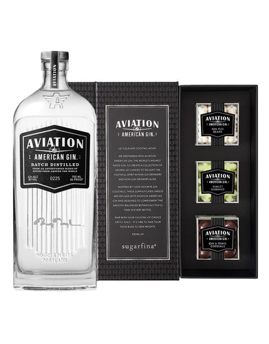 Aviation American Gin With Engraved Ryan Reynolds Signature & 3pc Sugarfina® Candy Bento Box