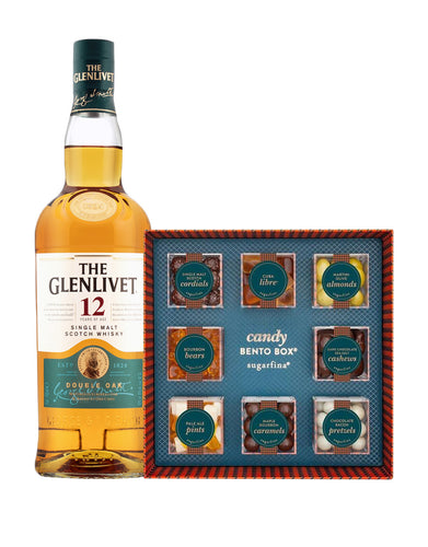 The Glenlivet 12 Year Old with Sugarfina Vice Collection 8pc Candy Bento Box