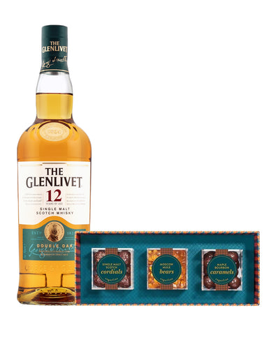 The Glenlivet 12 Year Old with Sugarfina Vice Collection 3pc Candy Bento Box