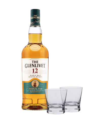The Glenlivet 12 Year Old with Dartington Bar Excellence Whiskey Glass Set
