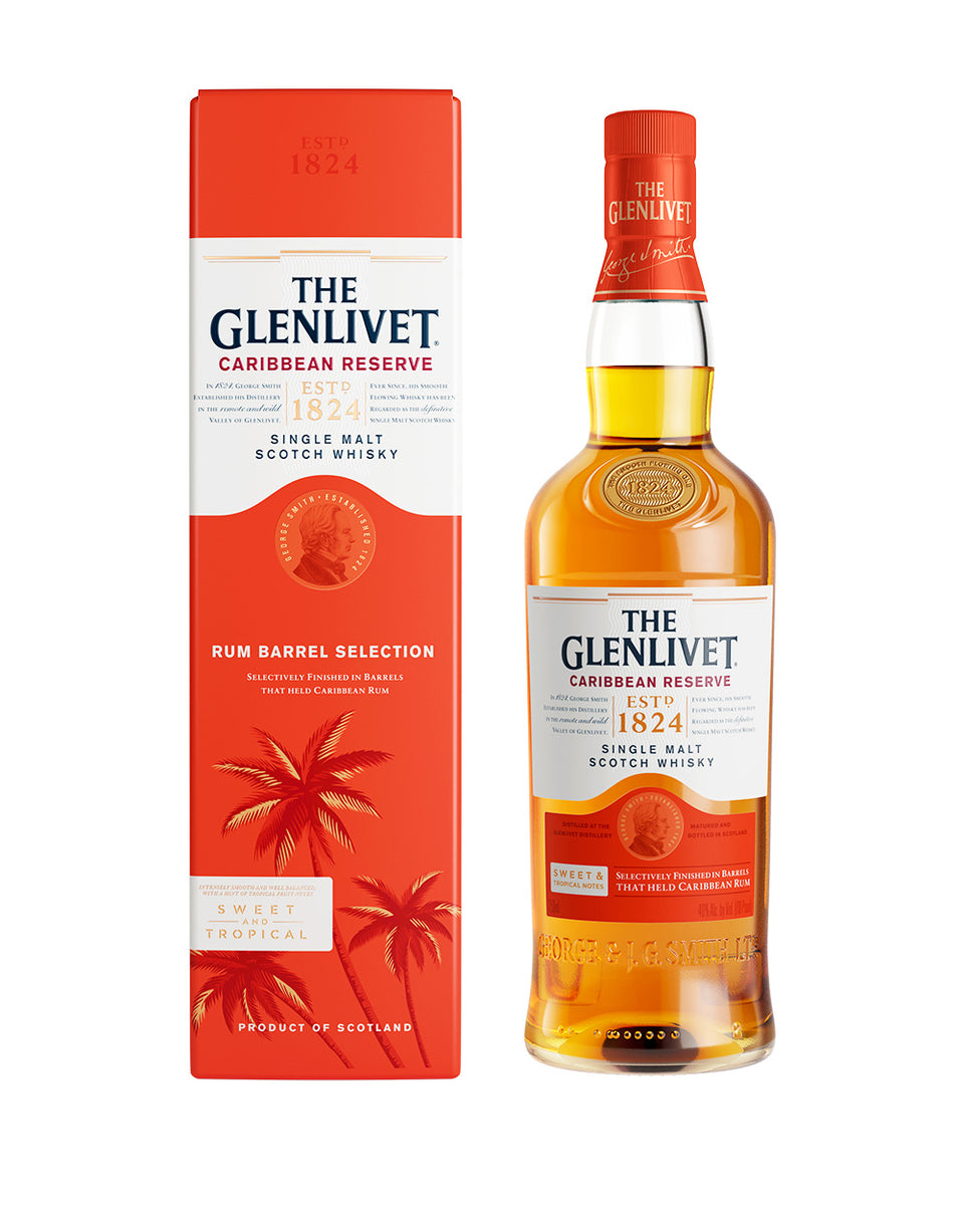 Load image into Gallery viewer, The Glenlivet Caribbean Reserve Single Malt Scotch Whisky bottle and box