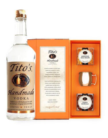 Tito's Handmade Vodka 750ml with Sugarfina x Tito's Handmade Vodka Candy Bento Box