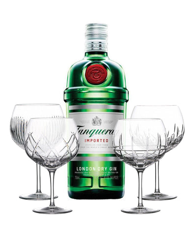 Tanqueray London Dry Gin with Waterford Gin Journeys Balloon Wine Glasses (Set of 4)