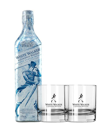 White Walker by Johnnie Walker with Two Branded Scotch Whisky Glasses
