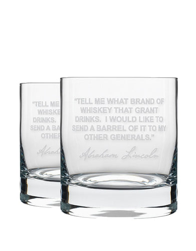 Bourbon & Boots Whiskey Legend Cocktail Glasses - Abraham Lincoln