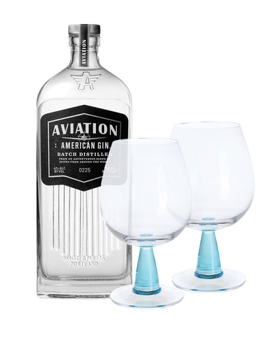 Aviation American Gin with Dartington Gin Connoisseur Copa Blue Pair