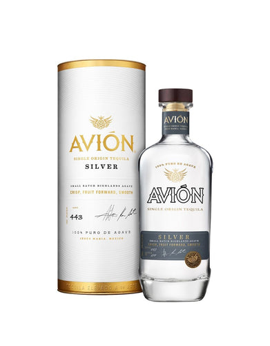 Avión Silver tequila bottle with canister