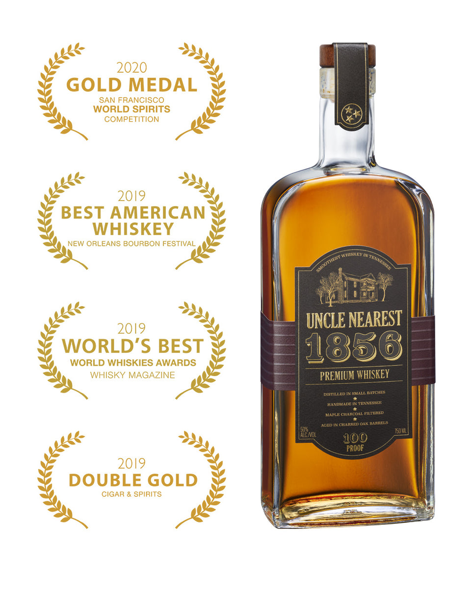 Load image into Gallery viewer, Uncle Nearest 1856 Premium Aged Whiskey bottle and awards