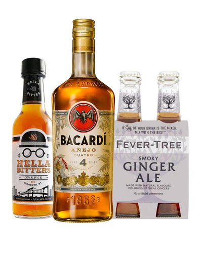 Bacardí Añejo Cuatro Rum with Fever-Tree Smoky Ginger Ale (4 Pack) and Hella Cocktail Orange Bitters (5 oz)
