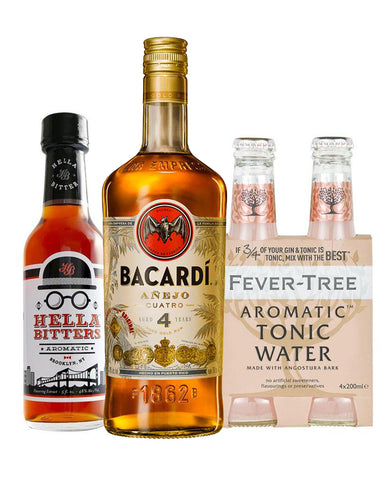 Bacardí Añejo Cuatro Rum with Fever-Tree Aromatic Tonic Water (4 Pack) and Hella Cocktail Aromatic Bitters (5 oz)