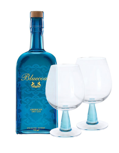 Bluecoat American Dry Gin with Dartington Gin Connoisseur Copa Blue Pair