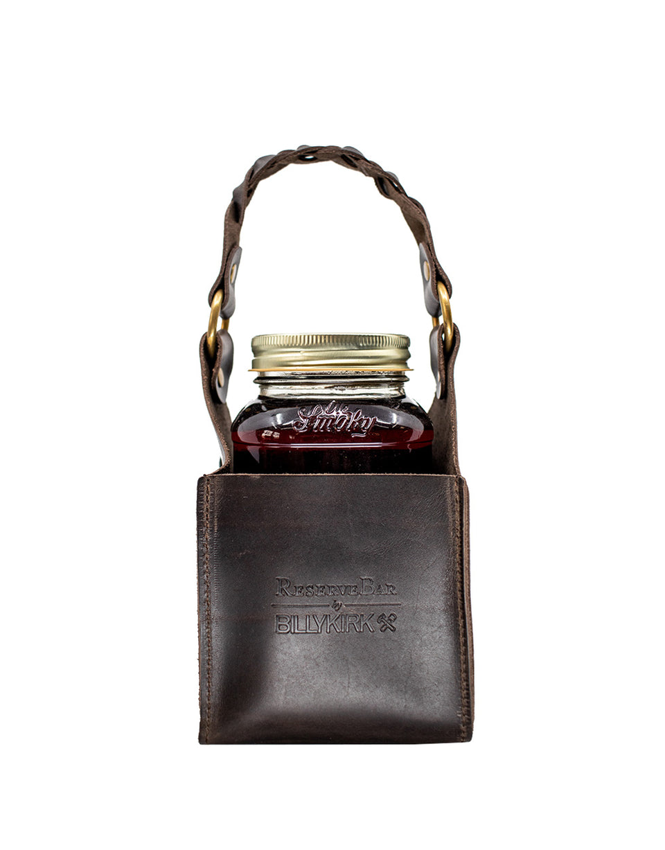 Load image into Gallery viewer, Billykirk square leather bottle holder with Ole Smoky® moonshine bottle