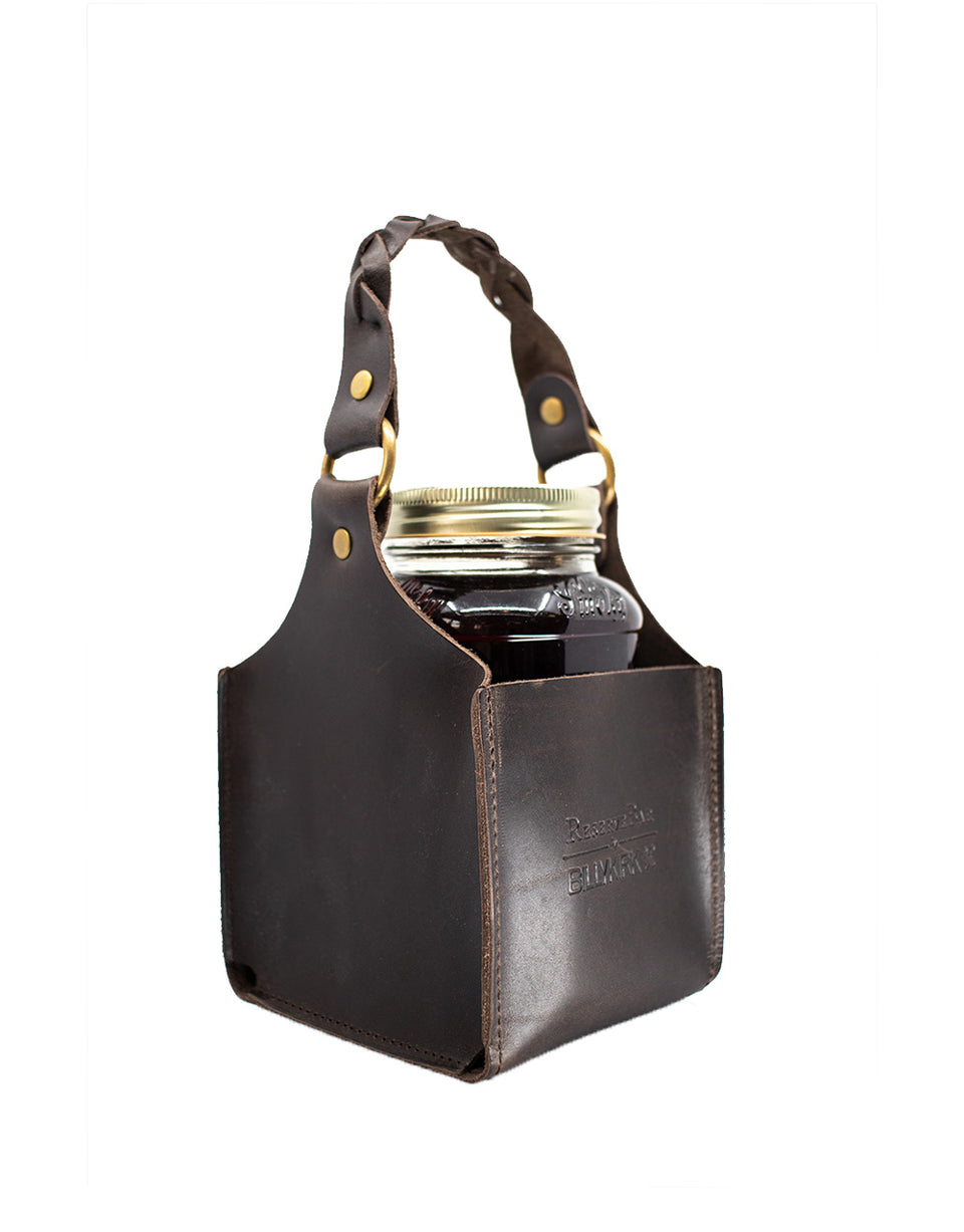 Load image into Gallery viewer, Billykirk square leather bottle holder with Ole Smoky® Moonshine
