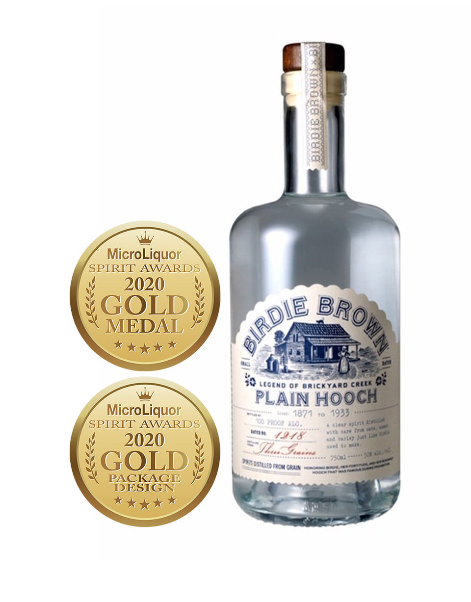 Load image into Gallery viewer, Buy Birdie Brown Plain Hooch Whiskey bottle and awards