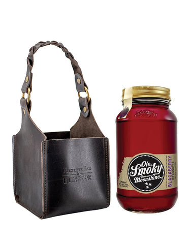Ole Smoky Blackberry Moonshine with Billykirk Square Leather Bottle Holder