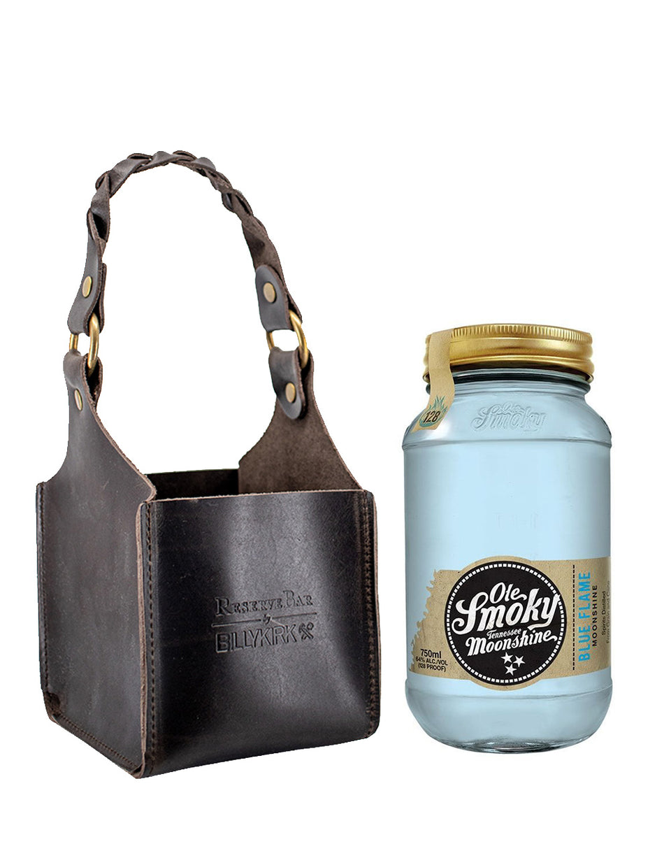 Load image into Gallery viewer, Ole Smoky® Blue Flame Moonshine with Billykirk Square Leather Bottle Holder