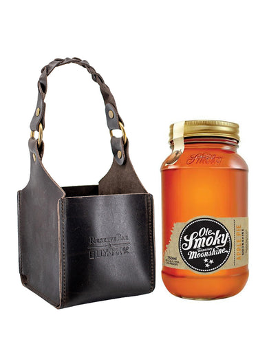 Ole Smoky Apple Pie Moonshine bottle with Billykirk square leather bottle holder