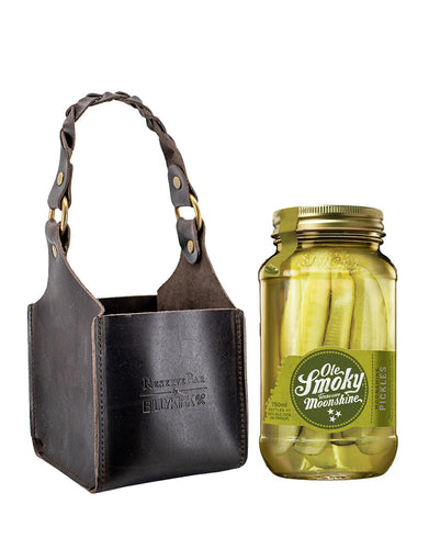 Ole Smoky Moonshine Pickles with Billykirk Square Leather Bottle Holder